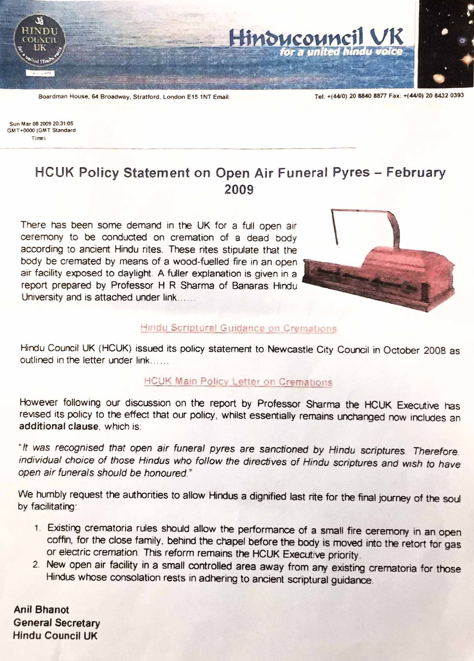 HCUK Policy Statement on Open Air Funeral Pyres