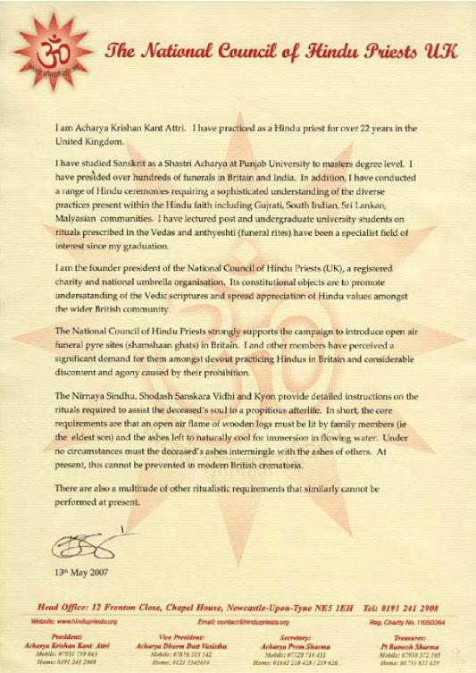 Acharya Krishan Kant Attri, The National Council of Hindu Priests UK