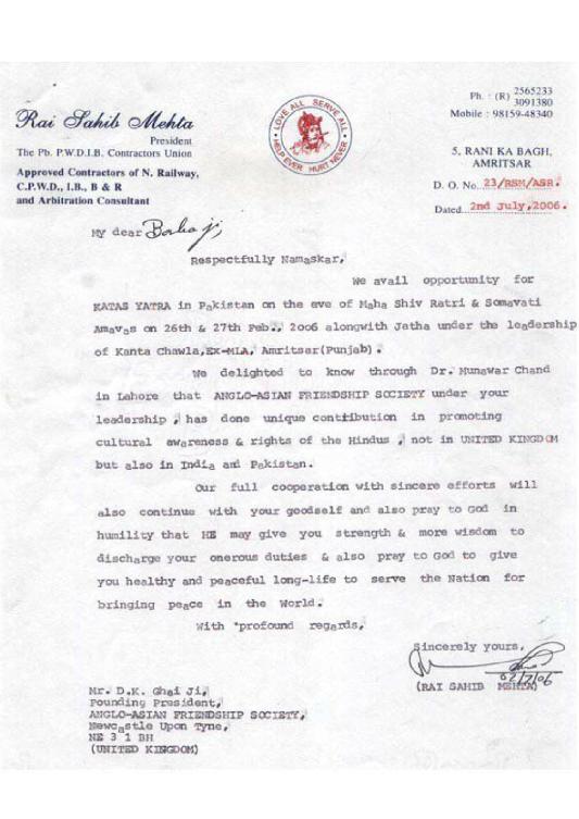 Rai Sahib Mehta, President, The Pb. P.W.D.I.B. Contractors Union